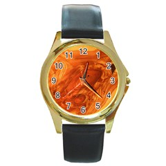 Fantastic Wood Grain Round Gold Metal Watch by MoreColorsinLife