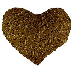 Sparkling Metal Art A Large 19  Premium Heart Shape Cushions by MoreColorsinLife