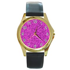 Sparkling Metal Art D Round Gold Metal Watch by MoreColorsinLife