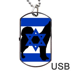 Cannan Dog Silhouette Flag Of Israel Dog Tag USB Flash (One Side) by TailWags