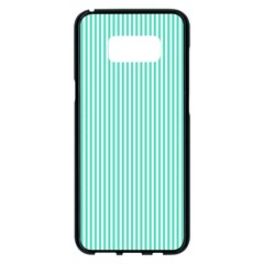 Classy Tiffany Aqua Blue Sailor Stripes Samsung Galaxy S8 Plus Black Seamless Case by PodArtist
