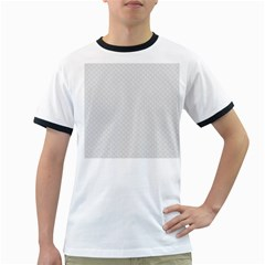 Bright White Stitched and Quilted Pattern Ringer T-Shirts