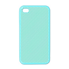 Tiffany Aqua Blue Diagonal Sailor Stripes Apple iPhone 4 Case (Color) by PodArtist