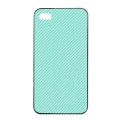 Tiffany Aqua Blue Diagonal Sailor Stripes Apple iPhone 4/4s Seamless Case (Black) by PodArtist