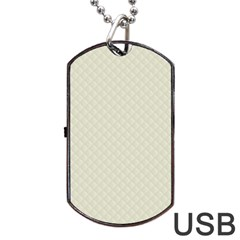 Rich Cream Stitched and Quilted Pattern Dog Tag USB Flash (Two Sides) by PodArtist