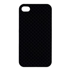 Sleek Black Stitched and Quilted Pattern Apple iPhone 4/4S Premium Hardshell Case by PodArtist