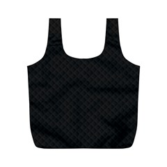 Sleek Black Stitched and Quilted Pattern Full Print Recycle Bags (M)