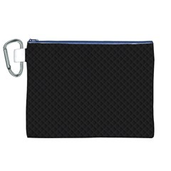 Sleek Black Stitched and Quilted Pattern Canvas Cosmetic Bag (XL) by PodArtist