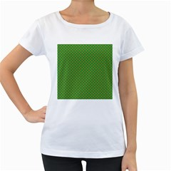 Orange Heart-Shaped Shamrocks on Irish Green St.Patrick s Day Women s Loose-Fit T-Shirt (White) by PodArtist