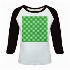 White Heart-Shaped Clover on Green St. Patrick s Day Kids Baseball Jerseys by PodArtist
