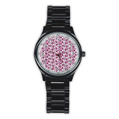 Roses Pattern Stainless Steel Round Watch by Valentinaart