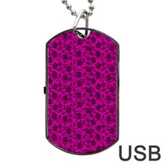 Roses Pattern Dog Tag Usb Flash (one Side) by Valentinaart