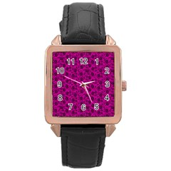 Roses Pattern Rose Gold Leather Watch  by Valentinaart