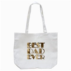Best Dad Ever Gold Look Elegant Typography Tote Bag (white) by yoursparklingshop