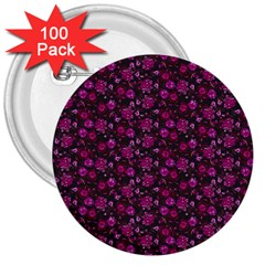 Roses Pattern 3  Buttons (100 Pack)  by Valentinaart