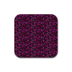 Roses Pattern Rubber Coaster (square)  by Valentinaart