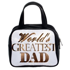 World s Greatest Dad Gold Look Text Elegant Typography Classic Handbags (2 Sides) by yoursparklingshop