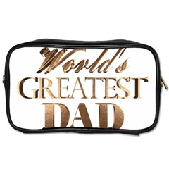 World s Greatest Dad Gold Look Text Elegant Typography Toiletries Bags 2 Side by yoursparklingshop