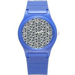 Roses Pattern Round Plastic Sport Watch (s) by Valentinaart