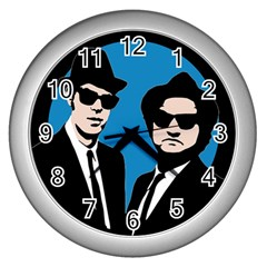 Blues Brothers  Wall Clocks (silver)  by Valentinaart