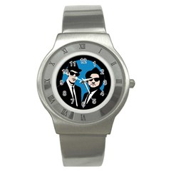 Blues Brothers  Stainless Steel Watch by Valentinaart