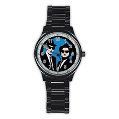 Blues Brothers  Stainless Steel Round Watch by Valentinaart