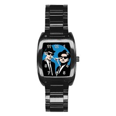 Blues Brothers  Stainless Steel Barrel Watch by Valentinaart