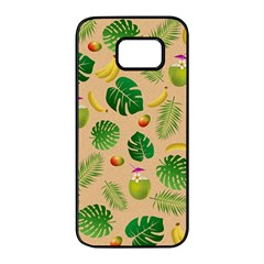 Tropical Pattern Samsung Galaxy S7 Edge Black Seamless Case by Valentinaart
