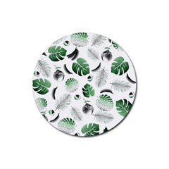 Tropical Pattern Rubber Coaster (round)  by Valentinaart