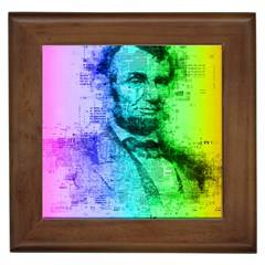 Abraham Lincoln Portrait Rainbow Colors Typography Framed Tiles by yoursparklingshop