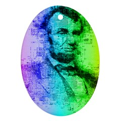 Abraham Lincoln Portrait Rainbow Colors Typography Ornament (oval) by yoursparklingshop