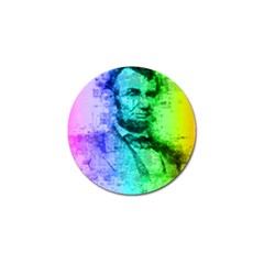Abraham Lincoln Portrait Rainbow Colors Typography Golf Ball Marker by yoursparklingshop