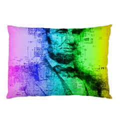 Abraham Lincoln Portrait Rainbow Colors Typography Pillow Case by yoursparklingshop