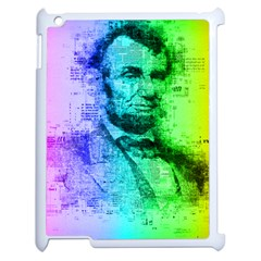Abraham Lincoln Portrait Rainbow Colors Typography Apple Ipad 2 Case (white) by yoursparklingshop