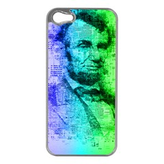 Abraham Lincoln Portrait Rainbow Colors Typography Apple Iphone 5 Case (silver) by yoursparklingshop