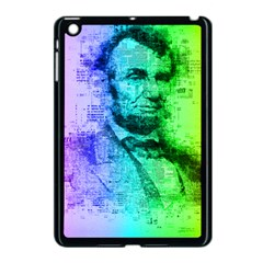 Abraham Lincoln Portrait Rainbow Colors Typography Apple Ipad Mini Case (black) by yoursparklingshop