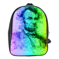 Abraham Lincoln Portrait Rainbow Colors Typography School Bags (xl)  by yoursparklingshop