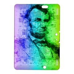Abraham Lincoln Portrait Rainbow Colors Typography Kindle Fire HDX 8.9  Hardshell Case by yoursparklingshop