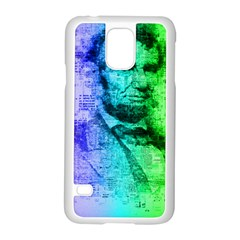 Abraham Lincoln Portrait Rainbow Colors Typography Samsung Galaxy S5 Case (white) by yoursparklingshop