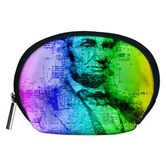Abraham Lincoln Portrait Rainbow Colors Typography Accessory Pouches (medium)  by yoursparklingshop