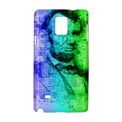 Abraham Lincoln Portrait Rainbow Colors Typography Samsung Galaxy Note 4 Hardshell Case by yoursparklingshop