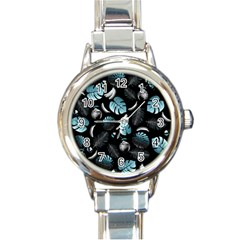 Tropical Pattern Round Italian Charm Watch by Valentinaart
