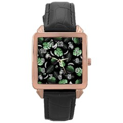 Tropical Pattern Rose Gold Leather Watch  by Valentinaart
