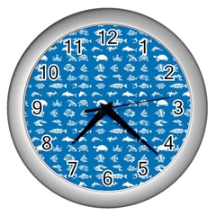 Fish Pattern Wall Clocks (silver)  by ValentinaDesign