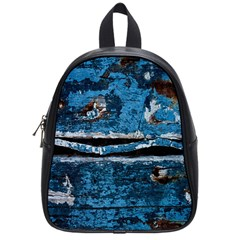 Blue Painted Wood                School Bag (small) by LalyLauraFLM