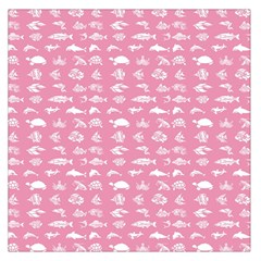 Fish Pattern Large Satin Scarf (square) by ValentinaDesign
