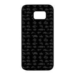 Fish Pattern Samsung Galaxy S7 Edge Black Seamless Case by ValentinaDesign