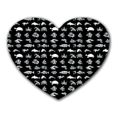 Fish Pattern Heart Mousepads by ValentinaDesign