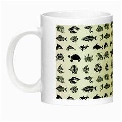 Fish Pattern Night Luminous Mugs by ValentinaDesign