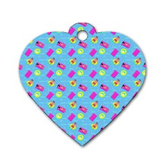 Summer Pattern Dog Tag Heart (two Sides) by ValentinaDesign